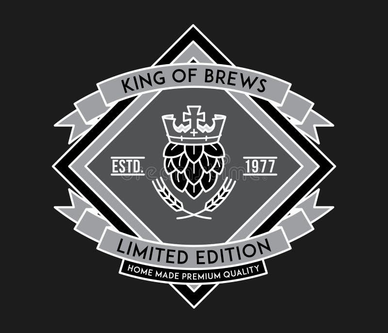 Βασιλιάς μπύρας του λευκού ζυθοποιών στο Μαύρο ελεύθερη απεικόνιση δικαιώματος