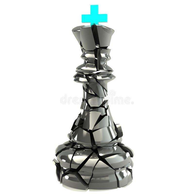 Βασιλιάς της διάλυσης καταστροφής 3d.high σκακιού. ελεύθερη απεικόνιση δικαιώματος