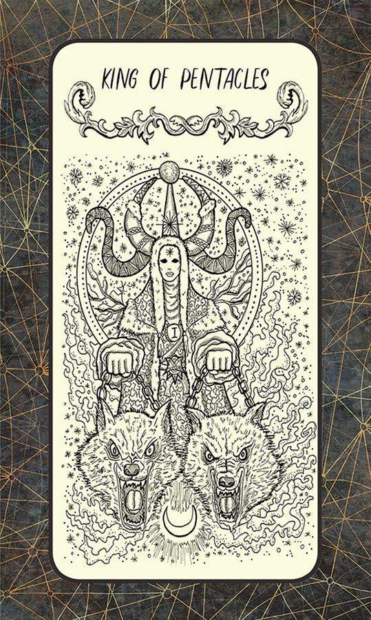 Βασιλιάς των πενταλφών Η μαγική κάρτα πυλών tarot απεικόνιση αποθεμάτων