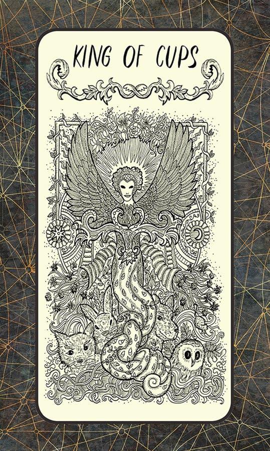 Βασιλιάς των φλυτζανιών Δευτερεύουσα κάρτα Arcana Tarot διανυσματική απεικόνιση