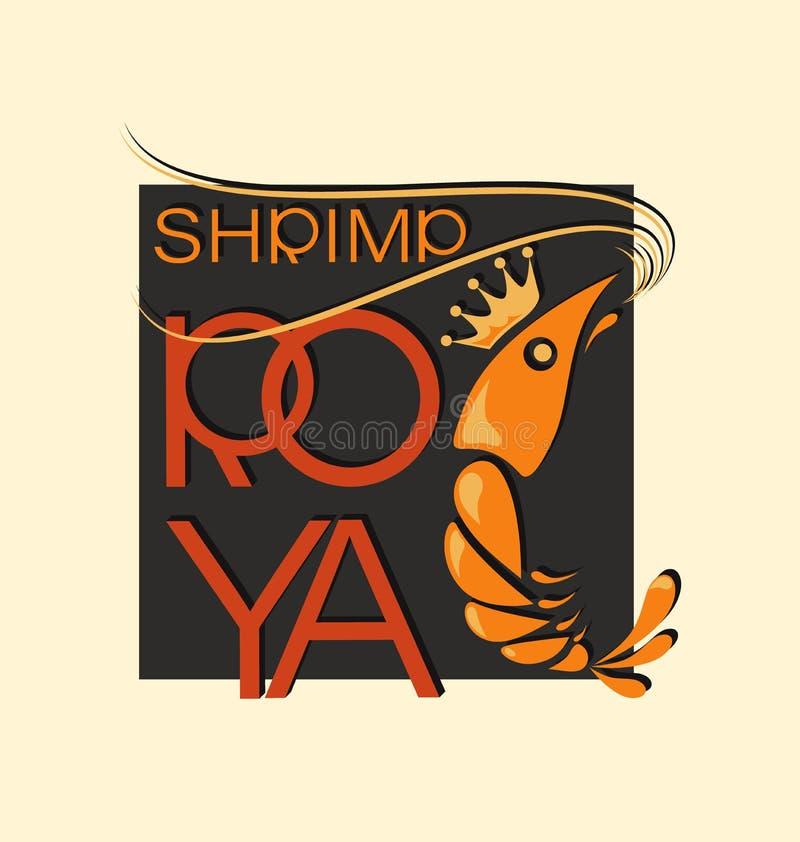 Βασιλικές γαρίδες τακτοποιημένος Σύμβολο και επιγραφή απεικόνιση αποθεμάτων