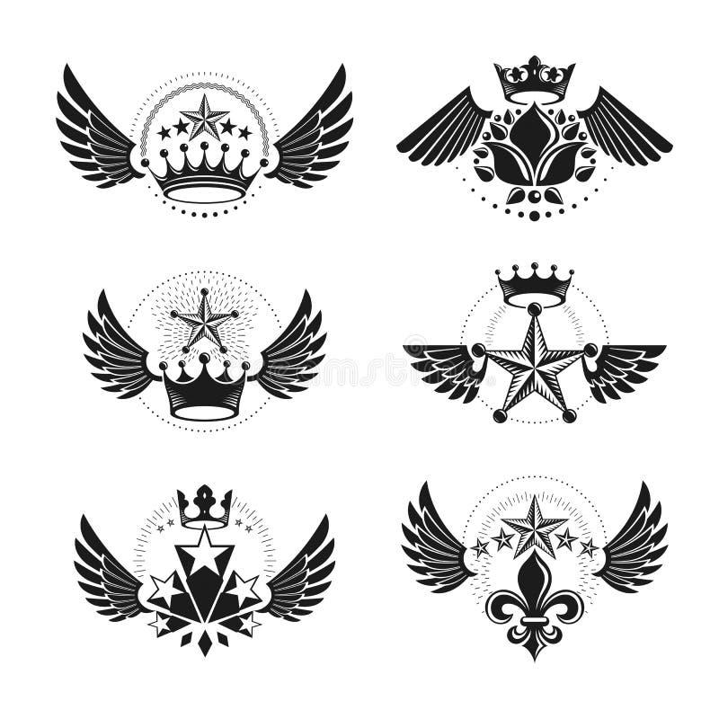 Βασιλικές κορώνες και αρχαία εμβλήματα αστεριών καθορισμένες Εραλδική κάλυψη του βραχίονα διανυσματική απεικόνιση
