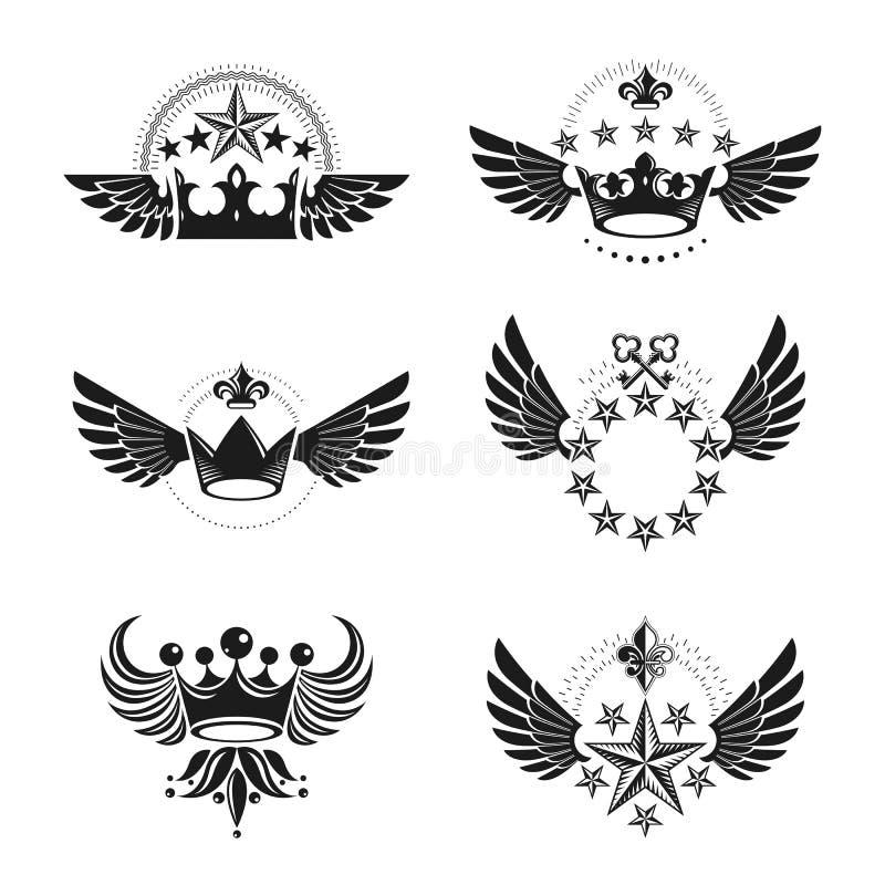 Βασιλικές κορώνες και εκλεκτής ποιότητας εμβλήματα αστεριών καθορισμένες Εραλδικό διανυσματικό desi απεικόνιση αποθεμάτων