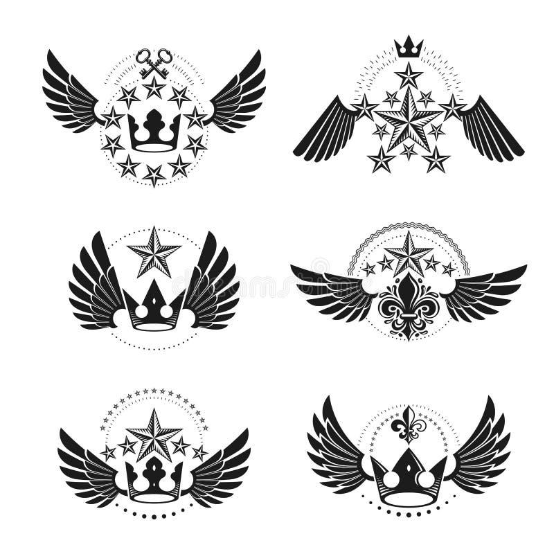 Βασιλικές κορώνες και εκλεκτής ποιότητας εμβλήματα αστεριών καθορισμένες Εραλδικό διανυσματικό desi διανυσματική απεικόνιση
