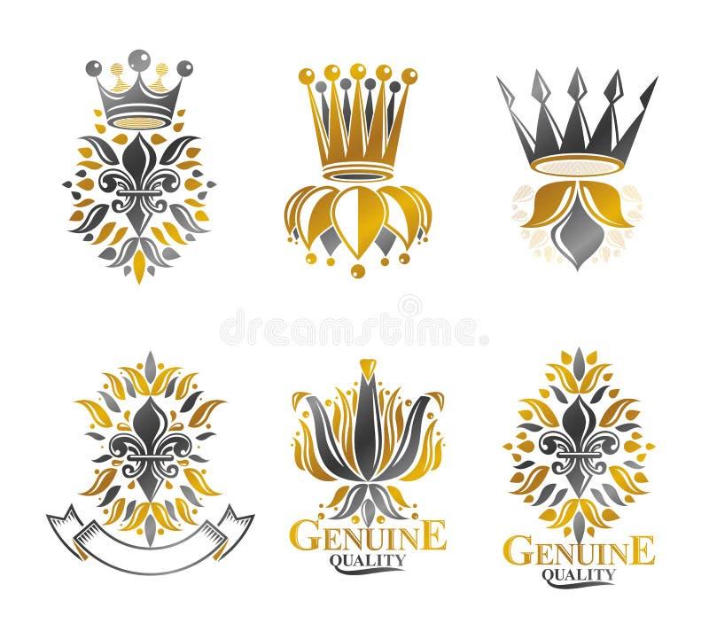 Βασιλικές λουλούδια κρίνων συμβόλων, floral και κορώνες, εμβλήματα καθορισμένα hera διανυσματική απεικόνιση