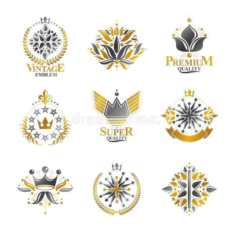 Βασιλικές σύμβολα, λουλούδια, floral και κορώνες, εμβλήματα καθορισμένα εραλδικός ελεύθερη απεικόνιση δικαιώματος