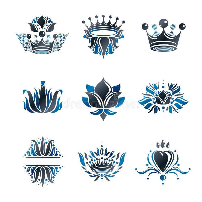 Βασιλικές σύμβολα, λουλούδια, floral και κορώνες, εμβλήματα καθορισμένα εραλδικός διανυσματική απεικόνιση