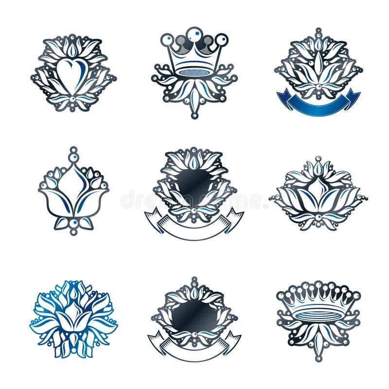 Βασιλικές σύμβολα, λουλούδια, floral και κορώνες, εμβλήματα καθορισμένα εραλδικός απεικόνιση αποθεμάτων
