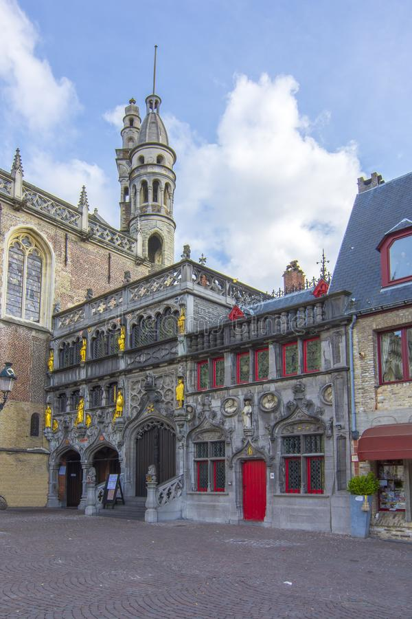Βασιλική του ιερού αίματος στην πλατεία Burg στο κέντρο της Μπρυζ, Βέλγιο στοκ φωτογραφίες