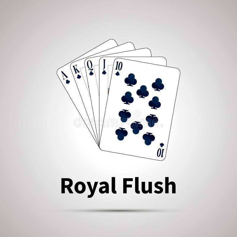 Βασιλικός επίπεδος συνδυασμός πόκερ σε γκρίζο απεικόνιση αποθεμάτων