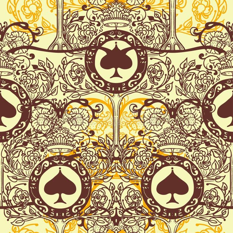 Βασιλικό άνευ ραφής σχέδιο με τη floral διακόσμηση, τα φτυάρια και τις κορώνες απεικόνιση αποθεμάτων