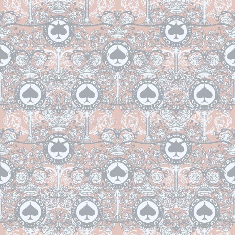 Βασιλικό άνευ ραφής σχέδιο με τη floral διακόσμηση, τα φτυάρια και τις κορώνες ελεύθερη απεικόνιση δικαιώματος