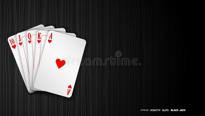 Βασιλικό ευθύ επίπεδο πόκερ καρτών παιχνιδιού σε ένα σκοτεινό υπόβαθρο διανυσματική απεικόνιση