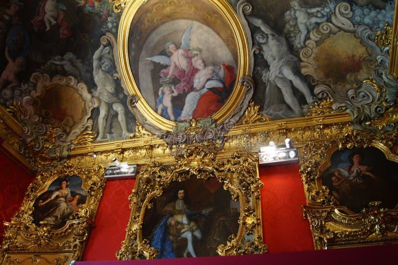 Βασιλικό παλάτι Palazzo Madama της Ιταλίας Τορίνο - θρίαμβος δωματίων του Qeen στοκ φωτογραφίες