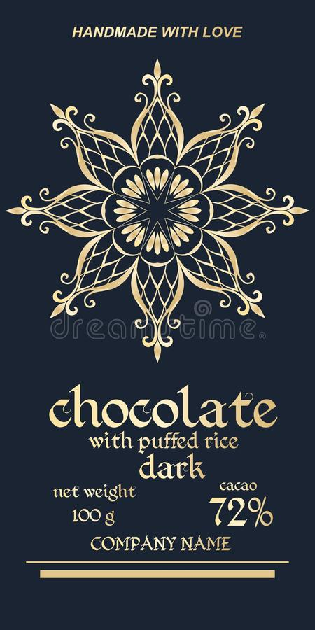 Βασιλικό χρυσό σχέδιο συσκευασίας των φραγμών σοκολάτας Εύκολο editable συσκευάζοντας πρότυπο Κομψό snowflake ή mandala - λουλούδ διανυσματική απεικόνιση