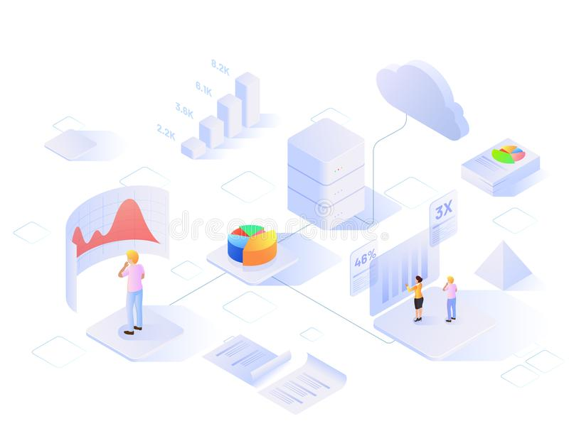 Βασισμένο σχέδιο προτύπων Ιστού στοιχείων στο Analytics με τη isometric άποψη ελεύθερη απεικόνιση δικαιώματος