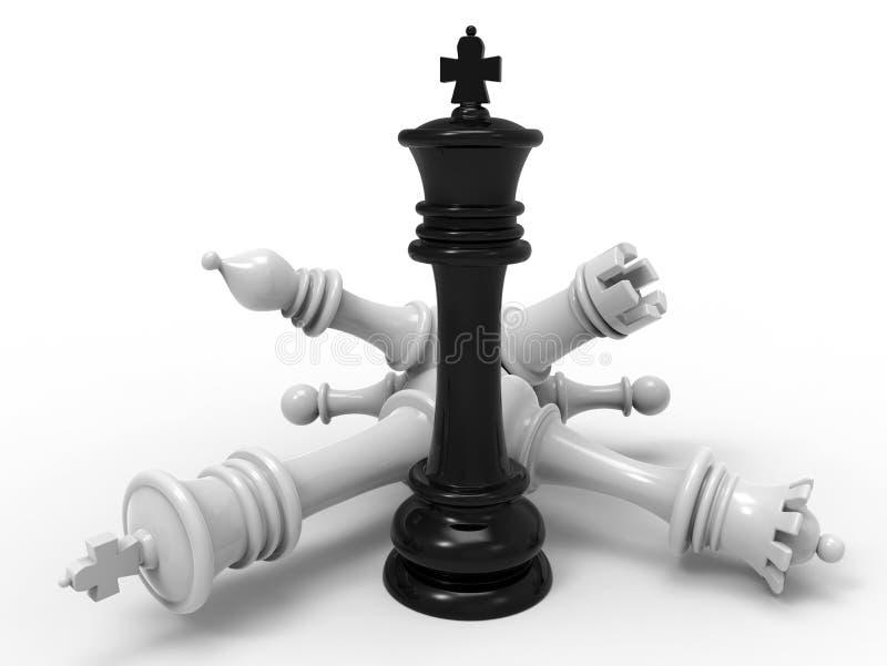 Βασιλιάς με την πεσμένη έννοια κομματιών ελεύθερη απεικόνιση δικαιώματος