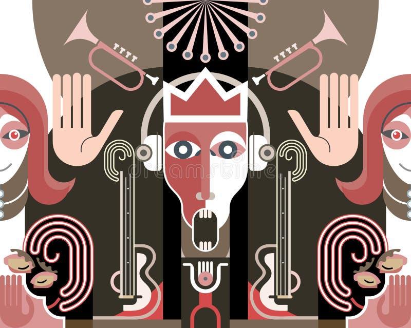 Βασιλιάς της μουσικής - διανυσματική απεικόνιση απεικόνιση αποθεμάτων