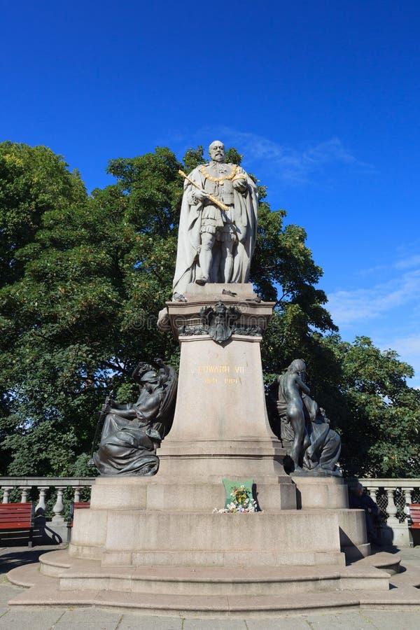 Βασιλιάς Edward VII άγαλμα στην οδό ένωσης στο Αμπερντήν στοκ εικόνες