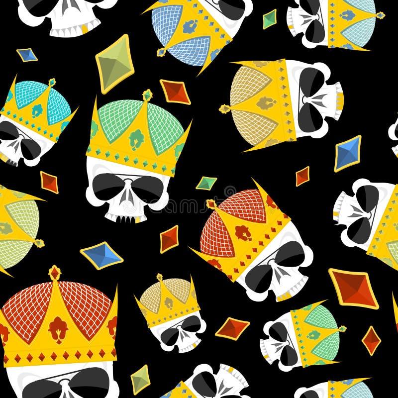 Βασιλιάδες οδών Χρυσό άνευ ραφής σχέδιο κρανίων κορωνών ελεύθερη απεικόνιση δικαιώματος