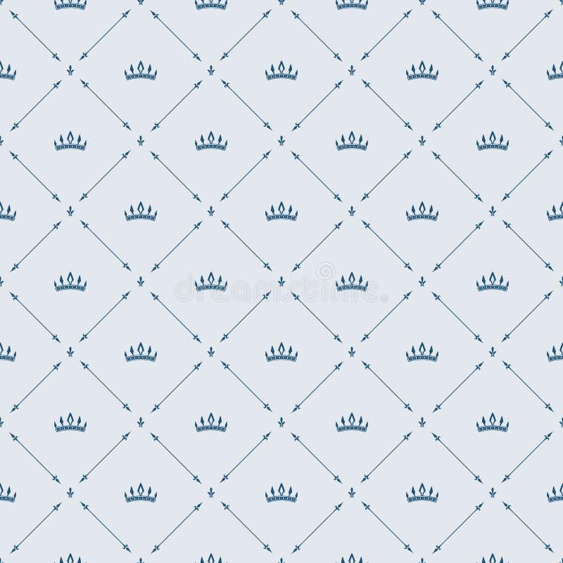 Βασιλικό άνευ ραφής σχέδιο ταπετσαριών με την κορώνα και τα διακοσμητικά στοιχεία Υπόβαθρο πολυτέλειας απεικόνιση αποθεμάτων