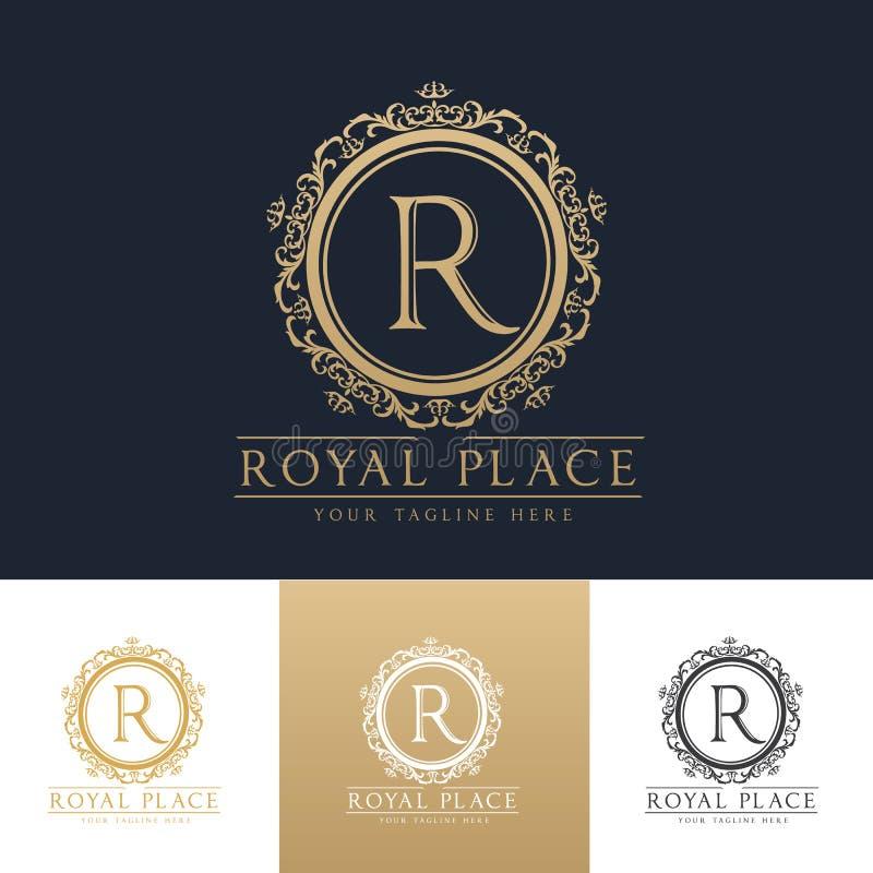Βασιλικό πρότυπο λογότυπων ξενοδοχείων μπουτίκ θέσεων στοκ φωτογραφίες