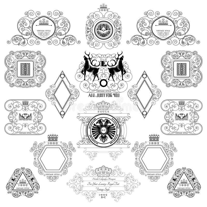 Βασιλικό πρότυπο σχεδίου μονογραμμάτων Καλλιγραφικά ετικέτες και πλαίσια από το σχέδιο γραμμών με τα ζώα και τα πουλιά διανυσματική απεικόνιση