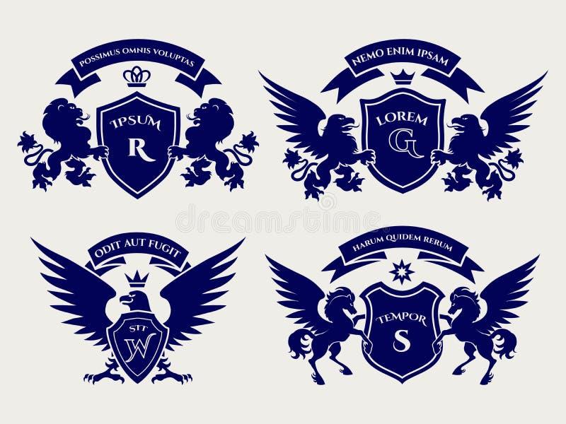 Βασιλικό σύνολο λογότυπων λόφων Heraldric ελεύθερη απεικόνιση δικαιώματος