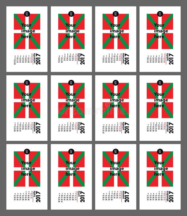 Βασκικό ημερολόγιο 2017 στοκ φωτογραφίες με δικαίωμα ελεύθερης χρήσης