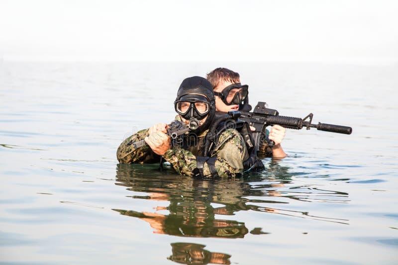 Βατραχάνθρωποι ΣΦΡΑΓΙΔΩΝ ναυτικού στοκ εικόνα με δικαίωμα ελεύθερης χρήσης