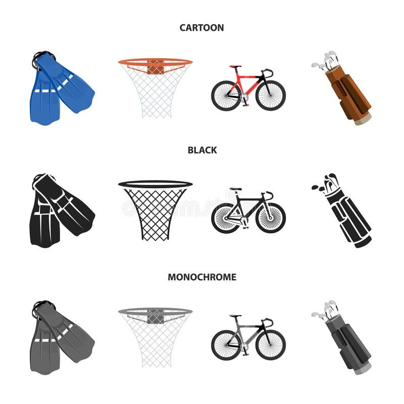 Βατραχοπέδιλα για την κολύμβηση, καλάθι καλαθοσφαίρισης, καθαρός, αγώνας ολογράφημα, τσάντα γκολφ Εικονίδια αθλητικής καθορισμένα απεικόνιση αποθεμάτων