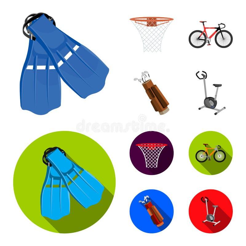 Βατραχοπέδιλα για την κολύμβηση, καλάθι καλαθοσφαίρισης, καθαρός, αγώνας ολογράφημα, τσάντα γκολφ Εικονίδια αθλητικής καθορισμένα διανυσματική απεικόνιση