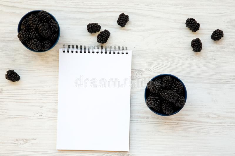 Βατόμουρα στα κεραμικά μπλε κύπελλα με το σημειωματάριο Θερινό μούρο Άνωθεν, υπερυψωμένη, τοπ άποψη στοκ φωτογραφία με δικαίωμα ελεύθερης χρήσης
