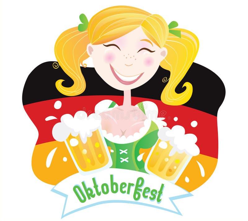 βαυαρικός θηλυκός πιό oktoberfest απεικόνιση αποθεμάτων