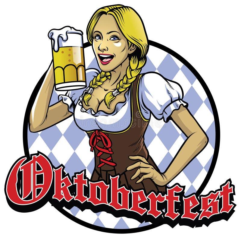 Βαυαρικό κορίτσι με ένα ποτήρι της μπύρας που γιορτάζει πιό oktoberfest απεικόνιση αποθεμάτων
