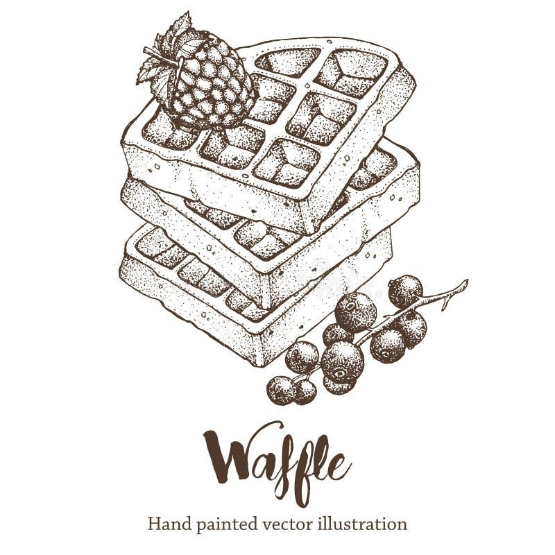 Βαφλών γλυκιά χεριών απεικόνιση σκίτσων σχεδίων διανυσματική ελεύθερη απεικόνιση δικαιώματος