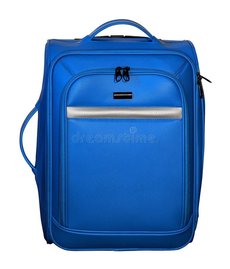 Βαλίτσα για το ταξίδι Μπλε χρώμα με τις ασημένιες εμφάσεις στοκ φωτογραφία