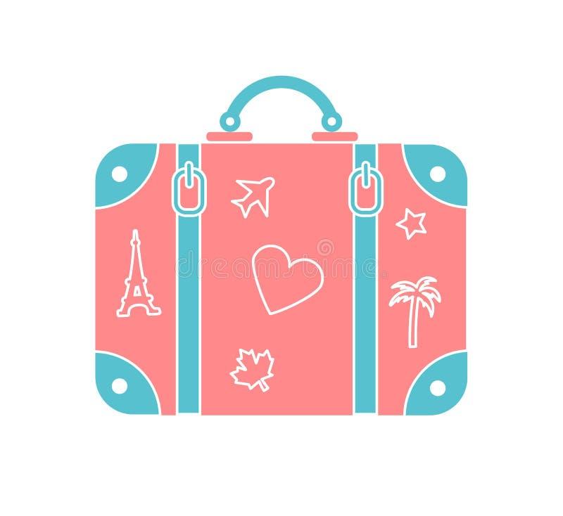 Βαλίτσα εικονιδίων για το ταξίδι απεικόνιση αποθεμάτων