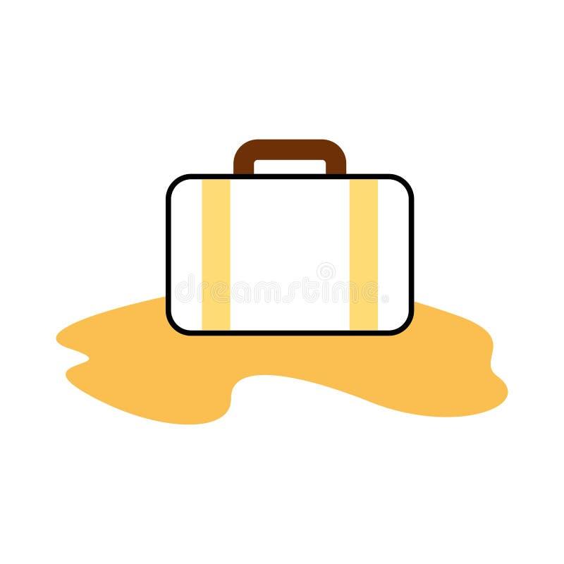 Βαλίτσα ταξιδιού με την άμμο απεικόνιση αποθεμάτων