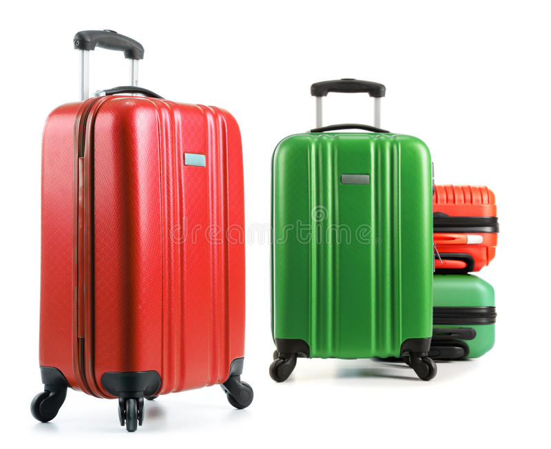 Βαλίτσες ταξιδιού που απομονώνονται στο άσπρο υπόβαθρο στοκ εικόνα με δικαίωμα ελεύθερης χρήσης