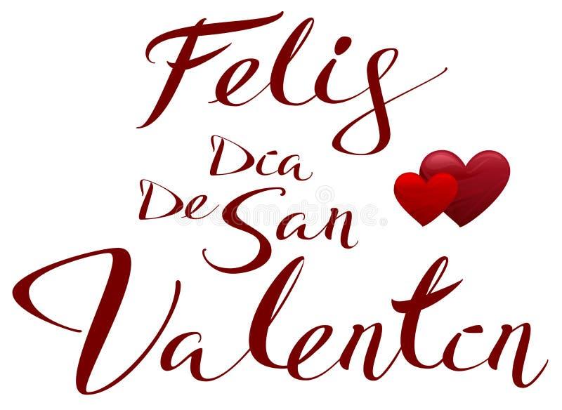 Βαλεντίνοι που μεταφράζονται ευτυχείς από τα ισπανικά Feliz Dia de SAN Valentin ελεύθερη απεικόνιση δικαιώματος