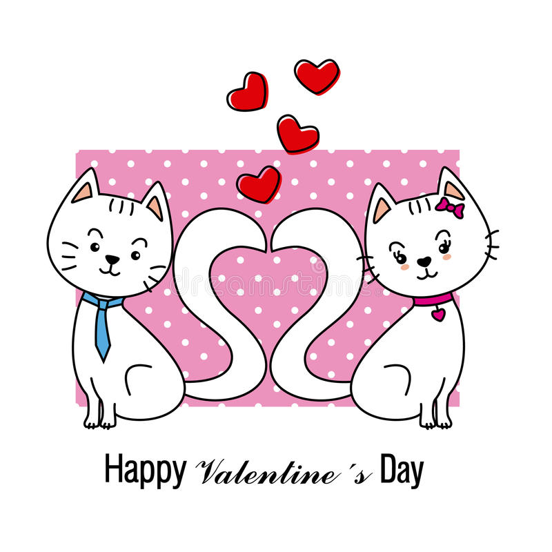 βαλεντίνος αγάπης γατών καρτών ελεύθερη απεικόνιση δικαιώματος