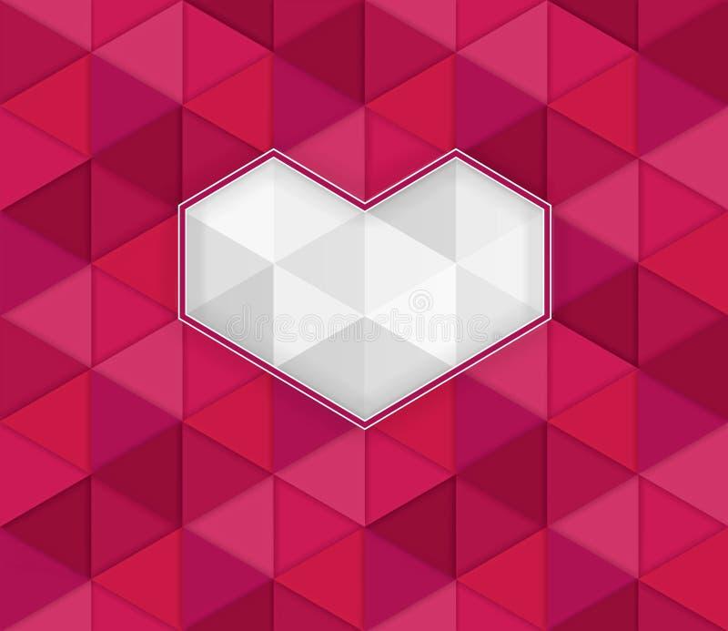 Βαλεντίνος στο αφηρημένο υπόβαθρο με την τρισδιάστατη επίδραση των κόκκινων τριγώνων διανυσματική απεικόνιση