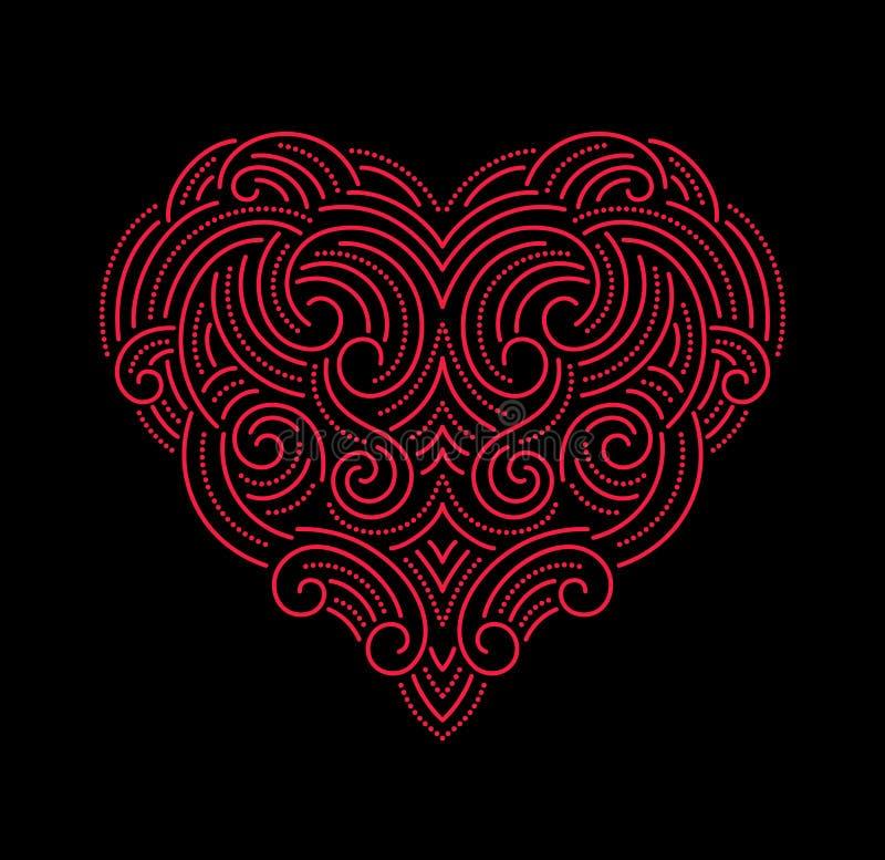 Βαλεντίνων διακοσμητική καρδιά γραμμών ημέρας όμορφη λεπτή διανυσματική απεικόνιση