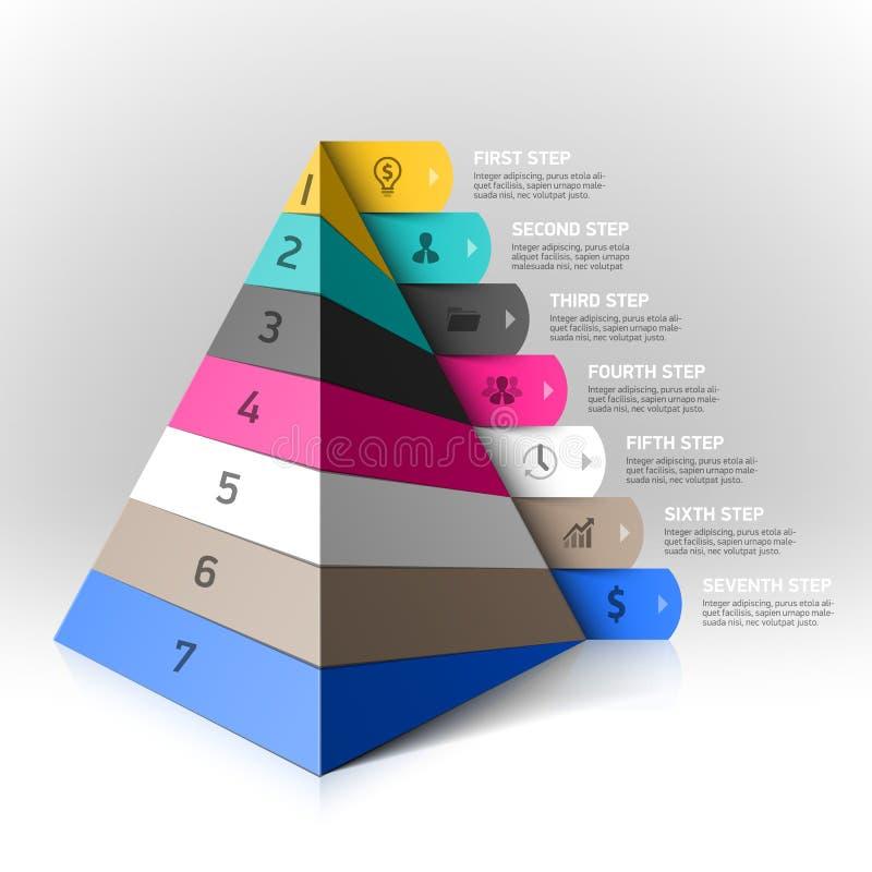 Βαλμένο σε στρώσεις στοιχείο σχεδίου βημάτων πυραμίδων διανυσματική απεικόνιση