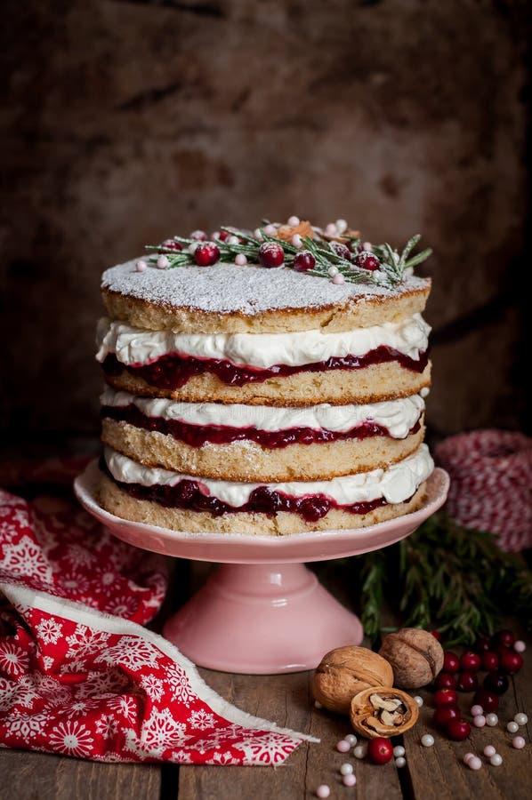 Βαλμένο σε στρώσεις Χριστούγεννα κέικ με τη μαρμελάδα σμέουρων και την κτυπημένη κρέμα στοκ φωτογραφίες