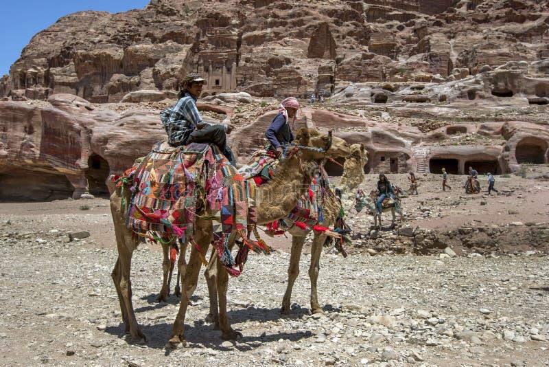 Βεδουίνα άτομα που κάθονται με τις καμήλες τους στη Petra στην Ιορδανία στοκ εικόνες με δικαίωμα ελεύθερης χρήσης