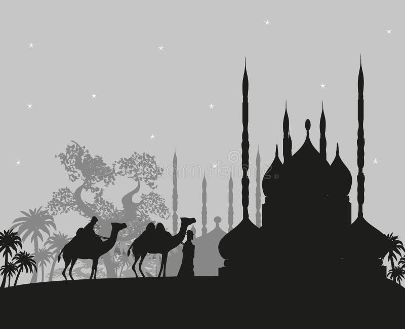 Βεδουίνο τροχόσπιτο καμηλών στην άγρια απεικόνιση τοπίων της Αφρικής διανυσματική απεικόνιση