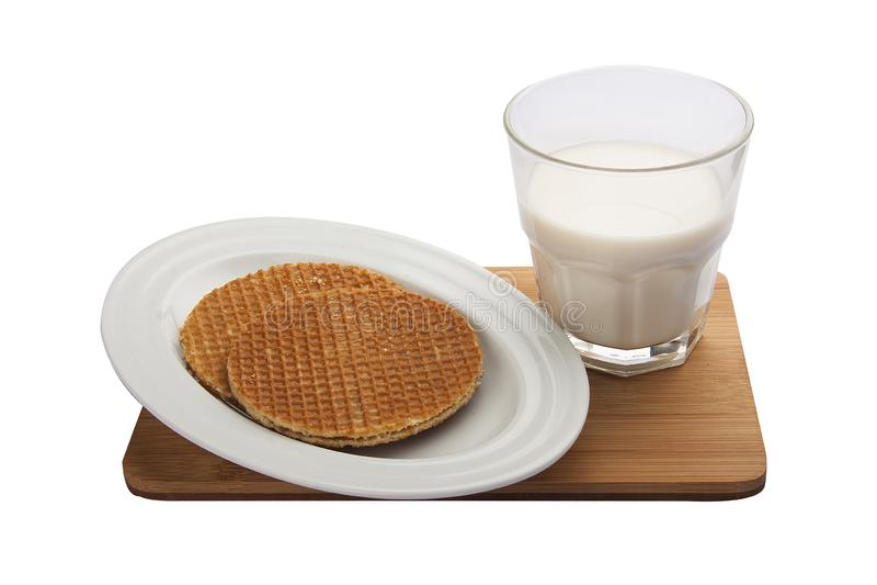 Βελγικές βάφλες προγευμάτων με το γάλα στοκ φωτογραφίες