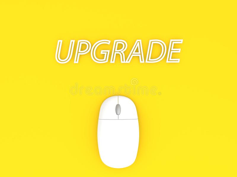 Βελτίωση και ποντίκι υπολογιστών σε ένα κίτρινο υπόβαθρο απεικόνιση αποθεμάτων